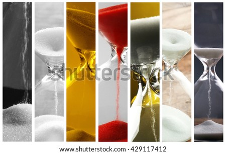 Collage of different hourglasses - stock photo