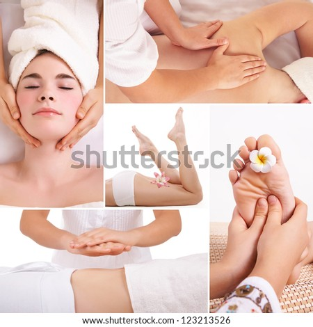 Collage of different kind spa massage for relaxation and beauty