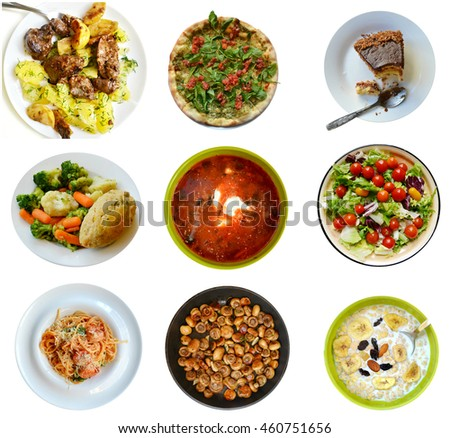 Collage of different kinds of healthy and unhealthy foods isolated on white