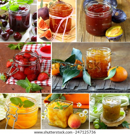 collage of different kinds of jam (peach, strawberry, orange, plum and fig) - stock photo