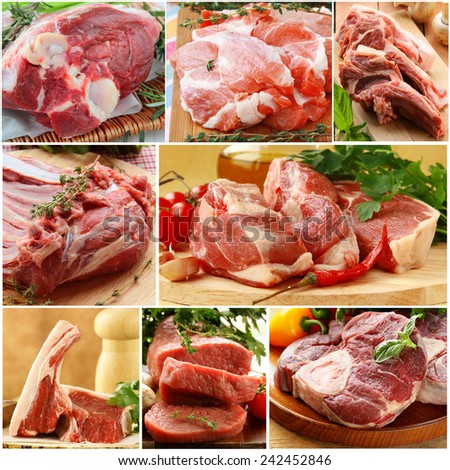 collage of different kinds of raw meat (beef, lamb, pork) - stock photo