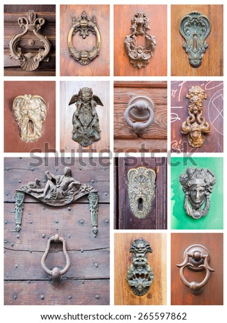 collage of different knockers on door, Bologna, Italy - stock photo