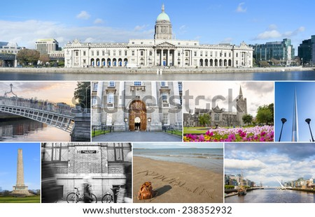 Collage of different landmarks in Dublin, Ireland - stock photo