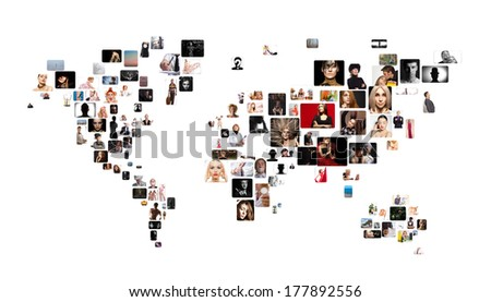 Collage of different people in position of world map  - stock photo