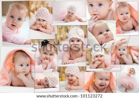 Collage of different photos of baby and his moments - stock photo