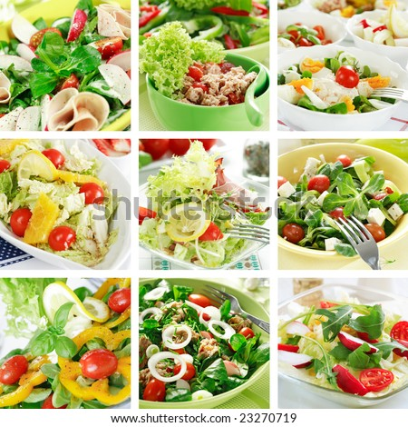 Collage of different salads - stock photo