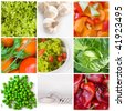 collage of different salat - stock photo
