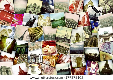 collage of different snapshots of different landmarks and scenes of Paris with filter effect - stock photo