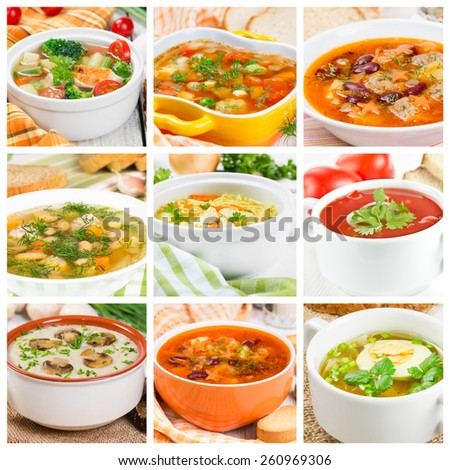 Collage of different soups with vegetables and meat - stock photo
