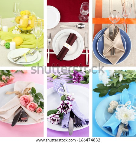 Collage of different table setting - stock photo