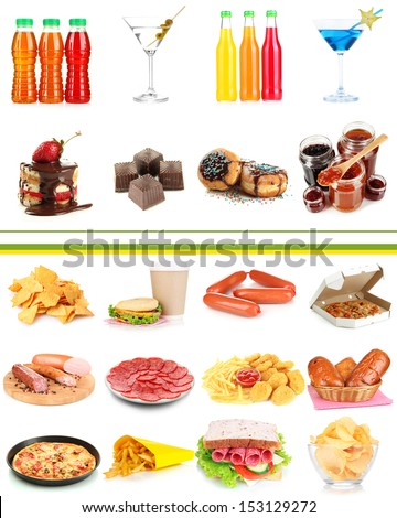 Collage of different unhealthy food - stock photo