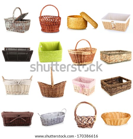 Collage of different wicker baskets - stock photo