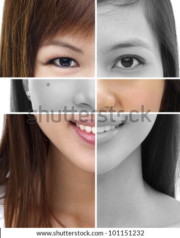Collage of different women face - stock photo