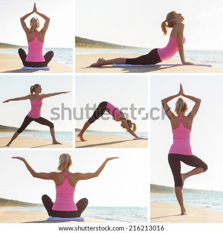Collage of different yoga poses by young woman on the beach - stock photo