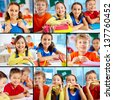 Collage of diligent schoolchildren in school - stock photo