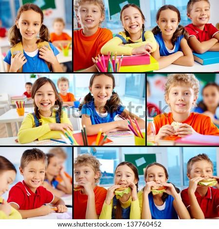 Collage of diligent schoolchildren in school - stock photo