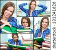 Collage of diligent student with heap of books - stock photo