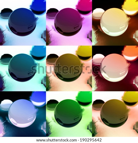 Collage of 3 dimensional spheres in different colors - stock photo