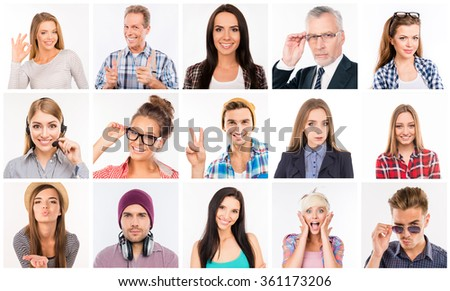 Collage of diverse people expressing different emotions - stock photo