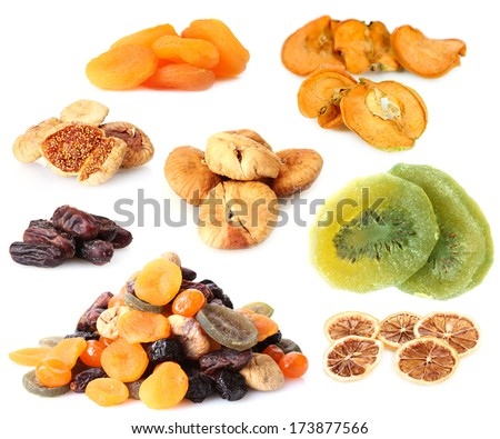 Collage of dried fruits isolated on white - stock photo