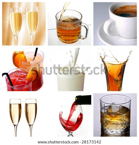 Collage of drink related pictures made from nine images - stock photo