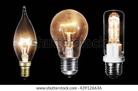 Collage of 3 Edison lamps glowing over black background, macro view