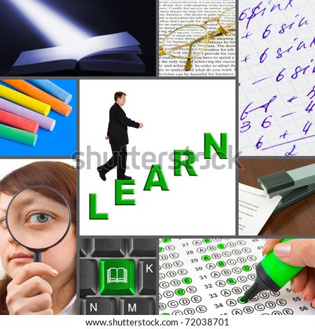 Collage of education images (my photos) - concept background - stock photo