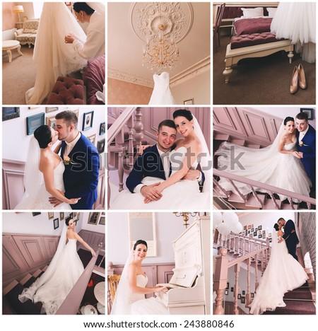 collage of elegant classic sensual wedding - stock photo