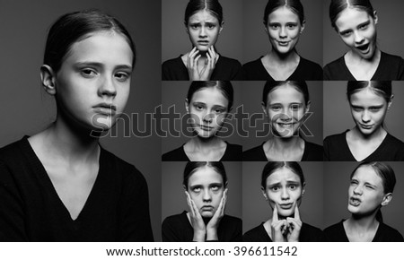 collage of emotional portraits of young girls without make-up - stock photo