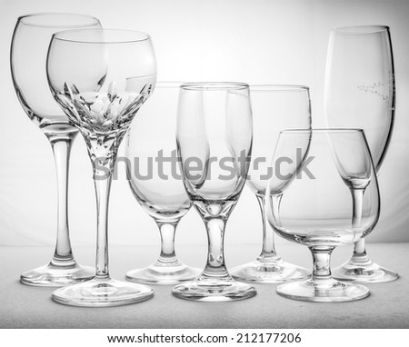 Collage of empty glasses  - stock photo
