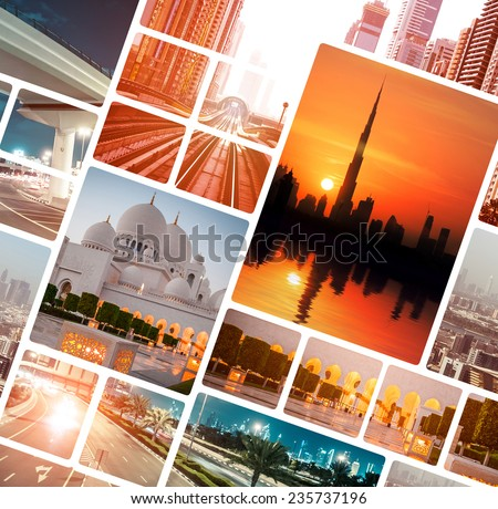 Collage of evening photo from  Dubai and Abu Dhabi. UAE - stock photo