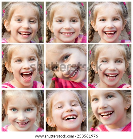 collage of face little cute girl laughing happily - stock photo