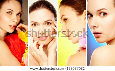 Collage of face of gorgeous woman posing in front of camera - stock photo