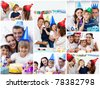 Collage of families celebrating a birthday together at home - stock photo