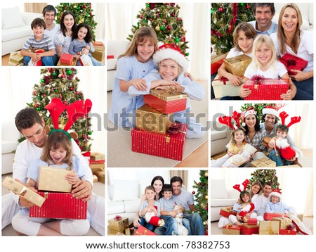 Collage of families celebrating Christmas together at home - stock photo