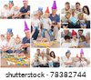 Collage of families enjoying celebration moments together at home - stock photo