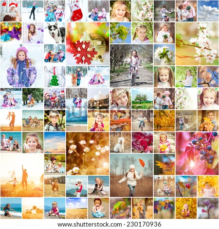 collage of family photos in the four seasons - stock photo
