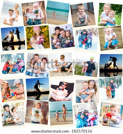 collage of family polaroid photos indoors and outdoors - stock photo