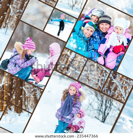 collage of family  winter photos - stock photo