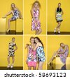 Collage of fashion model on orange background posing - stock photo
