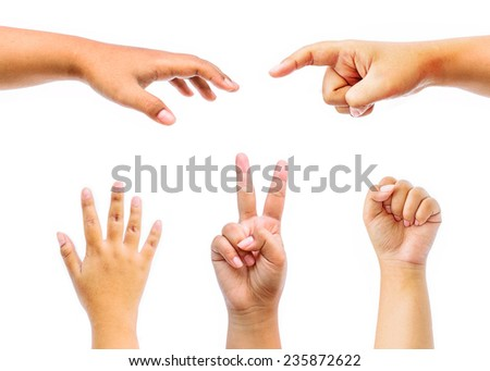 Collage of female hands isolated on white background.  - stock photo