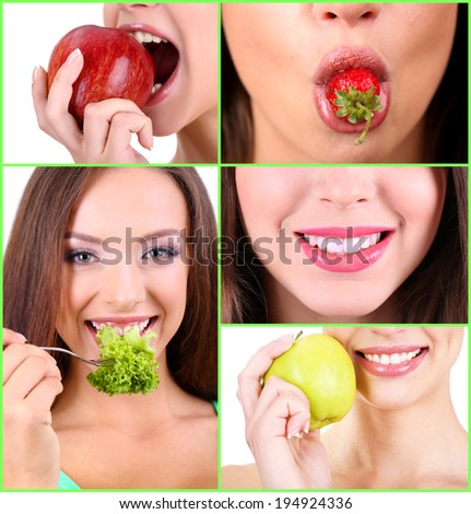 Collage of female mouth with healthy food - stock photo