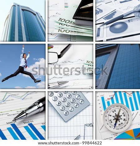 Collage of financial and business charts and graphs - stock photo