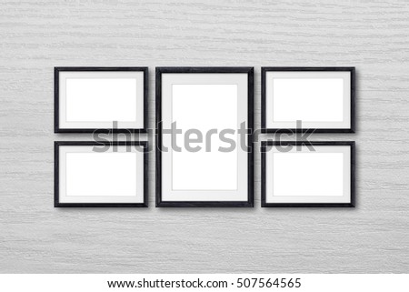 Collage Five Black Natural Wooden Frames Stock Photo (Safe to Use ...