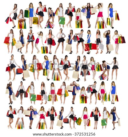 Collage of five models, Full length portrait of a beautiful young women posing with shopping bags, isolated on white background - stock photo