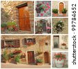collage of flowery doorways to the tuscan houses, Tuscany, Italy, Europe - stock photo