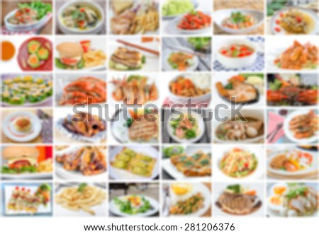 collage of food menu asian, american and chinese is blur - stock photo