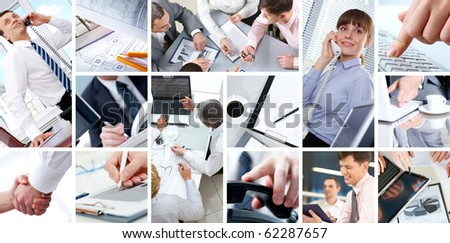 Collage of Four businesswomen sitting at table examining some documents - stock photo