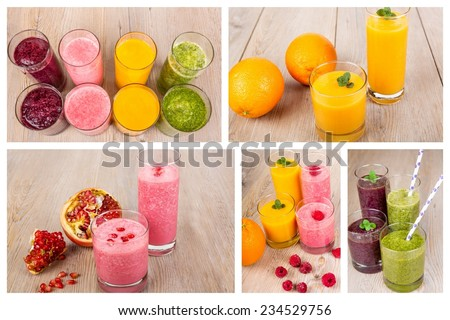 Collage of four different fruit, berry and vegetables healthy smoothies on wooden background. Green smoothie with spinach, orange juice,smoothie with berries and smoothie with blueberry and blackberry - stock photo