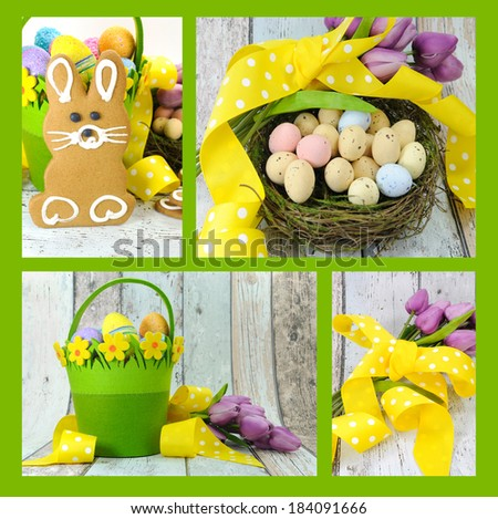 Collage of four images of Happy Easter yellow and lime green theme gingerbread bunny cookies with basket, tulips, and candy birds eggs in nest on shabby chic wood and white background. - stock photo